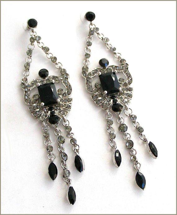 Earrings chandelier Baroque/Victorian crystal grey/black