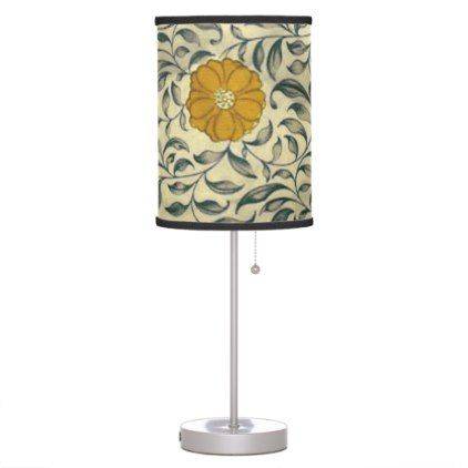 Japanese floral orange table lamp - floral style flower flowers stylish diy personalize