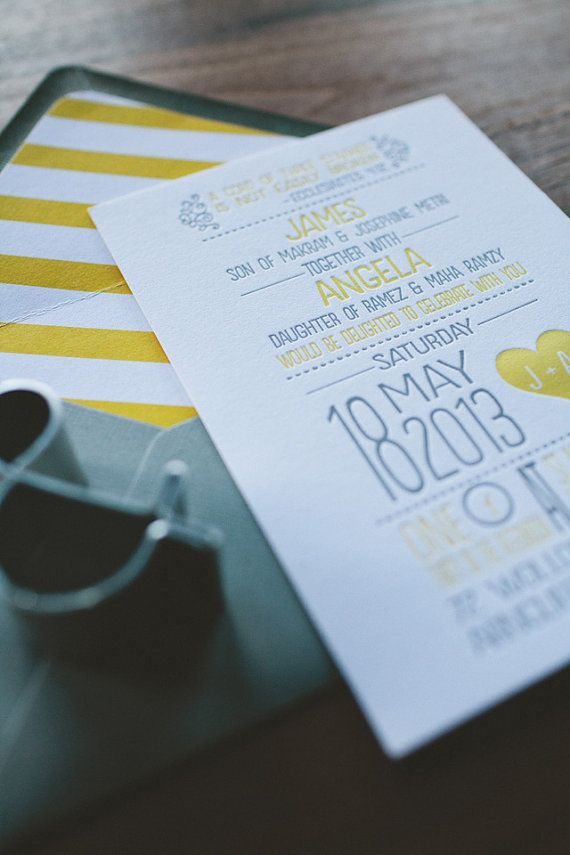 Letterpress Wedding Invitation : Modern Yellow and Gray Whimsical Heart