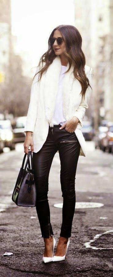 #winter #fashion / leather + white blazer