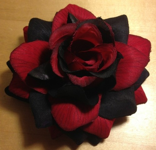 Black and red hair clip.