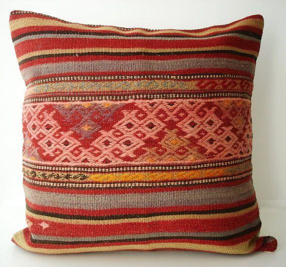 Sukan / Hand Woven - Turkish Antique Kilim Pillow Cover, Decorative Pillows, Pet Cushion - 24x24 $169.95