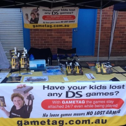 Gametag at the Old Bus Depot Market in Canberra.  Gametag keeps DS games attached to the console 24/7 no loose games means no lost games. http://www.youtube.com/watch?v=Wcy5hUlZuc4 Gametag DS game case and holder.