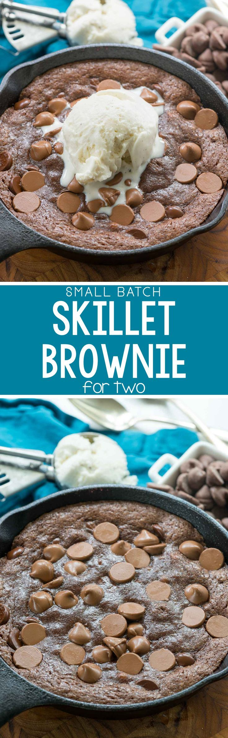 Small Batch Skillet Brownie for two - this easy one bowl brownie recipe makes a small batch for two! It's gooey and rich and my FAVORITE brownie recipe!