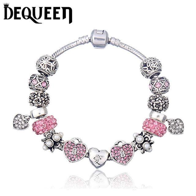 Dequeen  Crystal Charm Bracelet