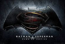 Batman v Superman logo.- 2016 - directed by Zack Snyder. Starring:  Henry Cavill, Ben Affleck, Gal Gadot, Amy Adams, Diane Lane, Laurence Fishburne, Jesse Eisenberg, Jeremy Irons, and Holly Hunter.
