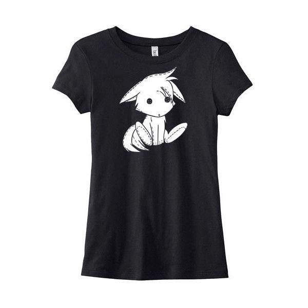Cute Fox Tee Kawaii Clothing Kitsune T-Shirt Furry Anime Chibi... ($20) ❤ liked on Polyvore featuring tops, t-shirts, shirts, cotton tee, henley t shirt, checkered shirt, graphic tees and women tops