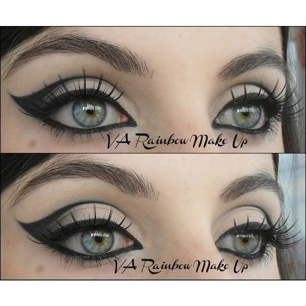 Cat Eyes By Vanessa A ❤ liked on Polyvore featuring beauty products, goth makeup, goth eye makeup, gothic eye makeup and gothic makeup