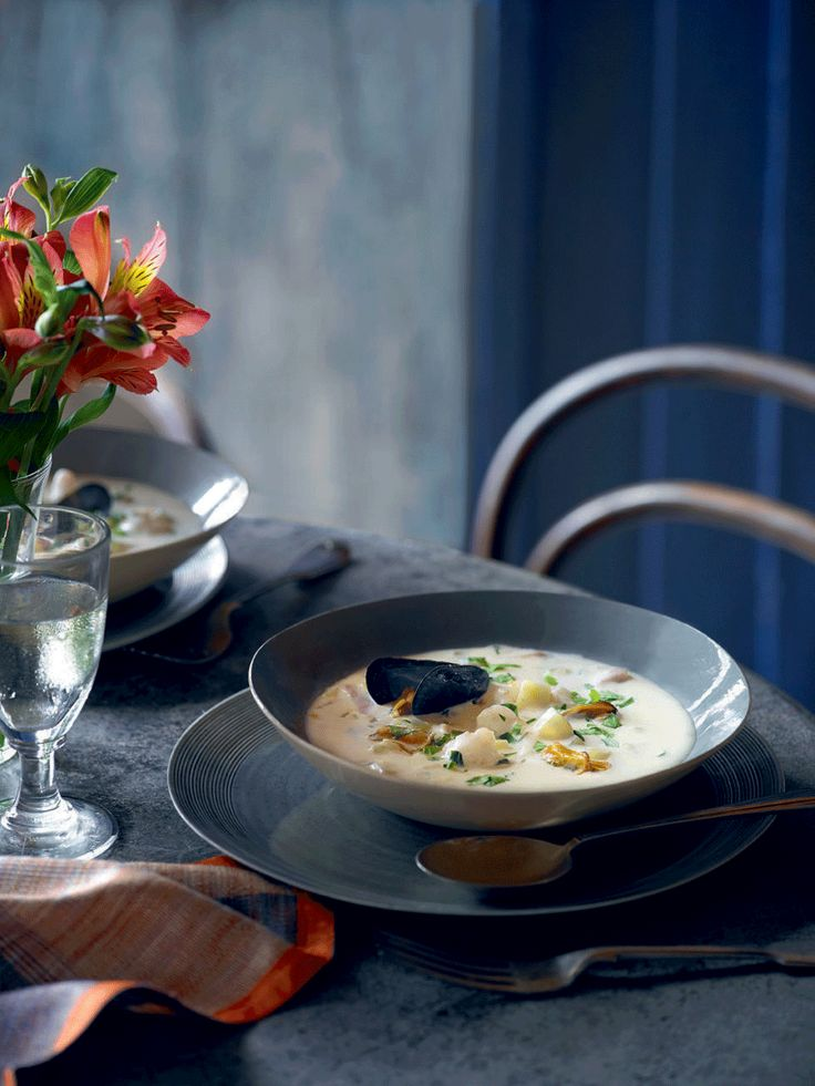 Rick Stein evolved this langoustine and mussel chowder recipe on a visit to Ireland, where these ingredients are found in abundance.