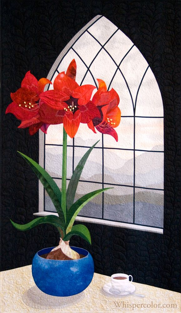 Winter Amaryllis Quilt by Laurel Anderson at Whisper Color
