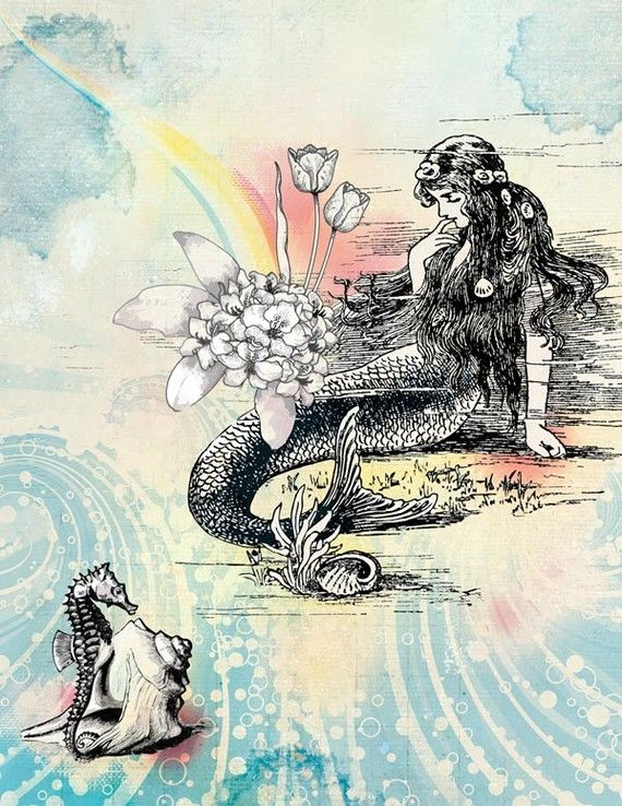 Mermaid, shell & flowers with rainbow background
