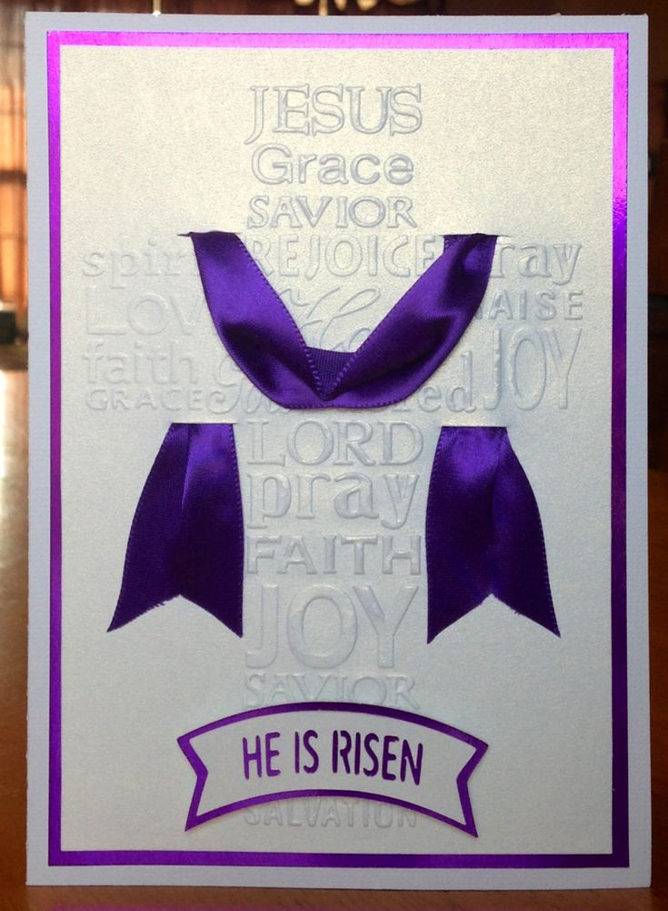 "Handmade Easter card using Darice embossing folder (embossed cross) and Silhouette Cameo for the ""He Is Risen"" banner cutting file."