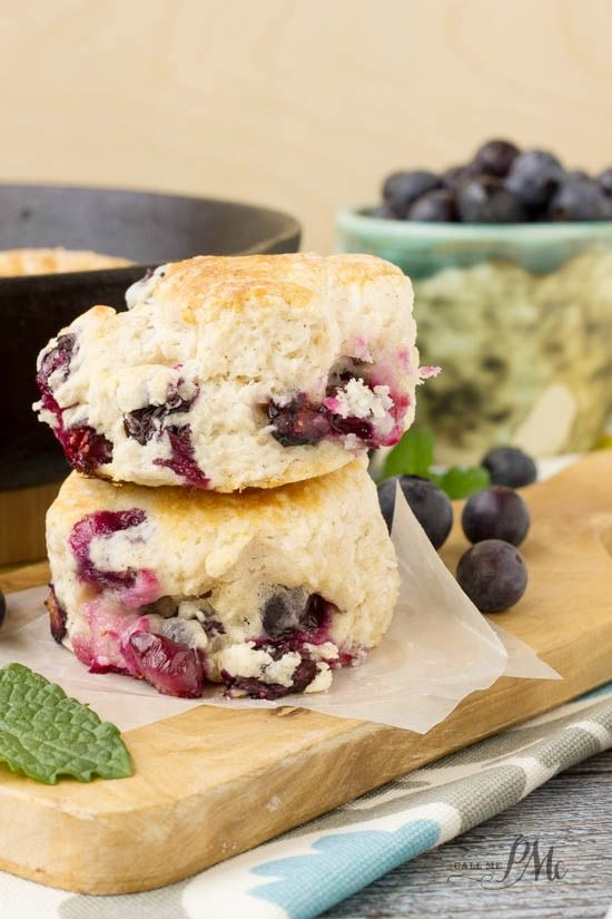 Blueberry Biscuits  Homemade biscuits are spiked with fresh, sweet blueberries in this crowd-pleasing recipe.