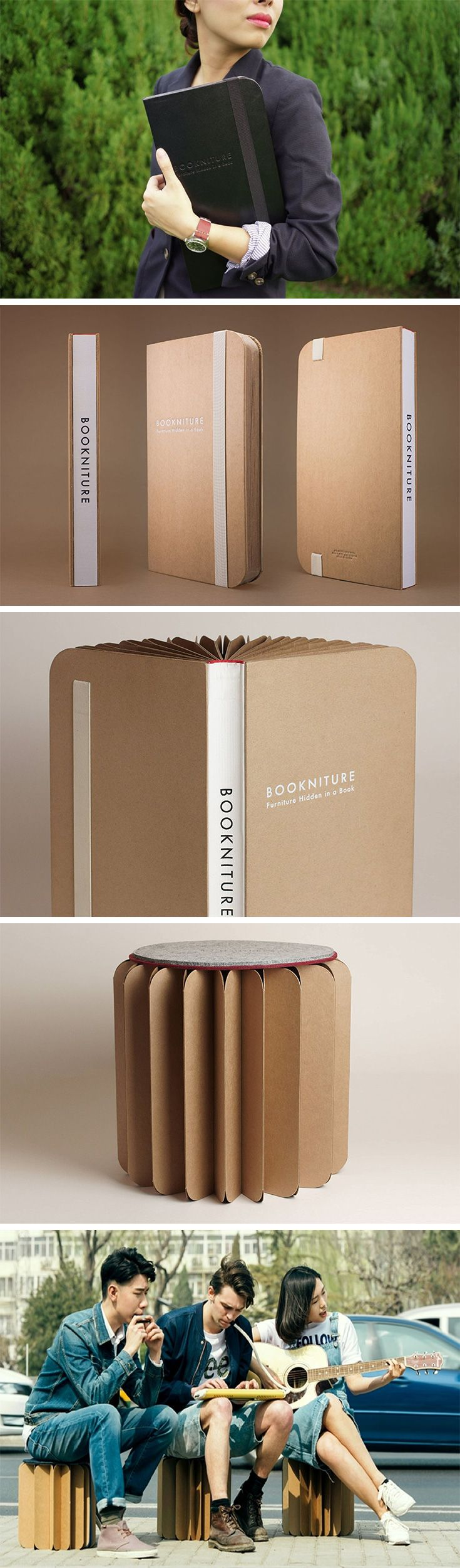 "When I say ""Furniture in a book"", your mind would probably think that the book in question was about furniture. However, Bookniture is way more literal than that! It literally is a book that opens up to become furniture! Relying on folded paper's ability to withstand large amounts of compressive stress against its thickness, the Bookniture literally comes as thick as a coffee-table book and as light as one too. BUY NOW!"