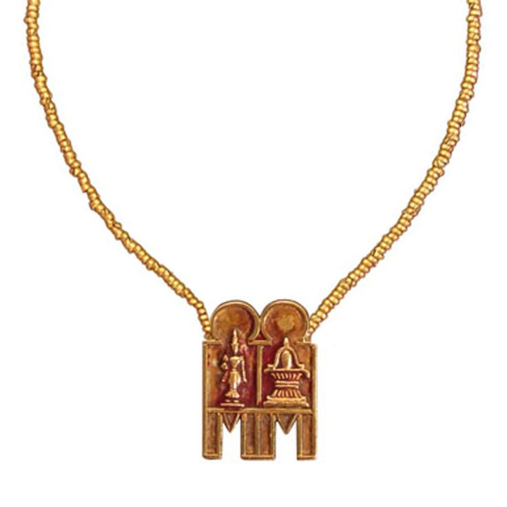 South Indian Gold Marriage Necklace - hand-rolled gold beads and thali amulet - 20-22k gold