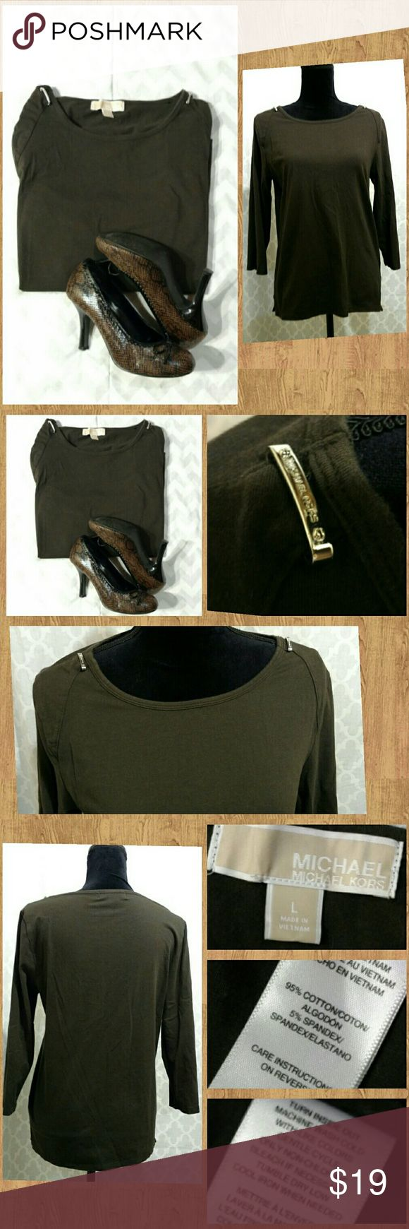 Michael Kors: Brown Long-sleeve Shirt Brown long-sleeved top with decorative shoulder ornaments. Very good condition; only worn about twice.   Discount available with bundle purchase. Michael Kors Tops Tees - Long Sleeve
