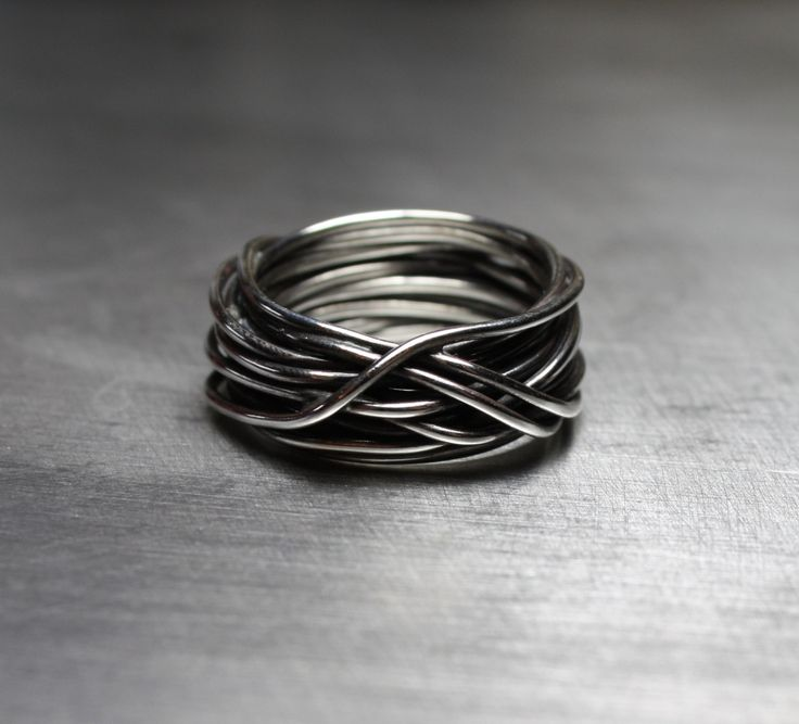 Mens Ring, Wedding Band, Wire Wrapped Ring, Rustic Jewelry