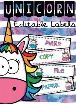 Unicorn EDITABLE Labels!!! Super Cute!!