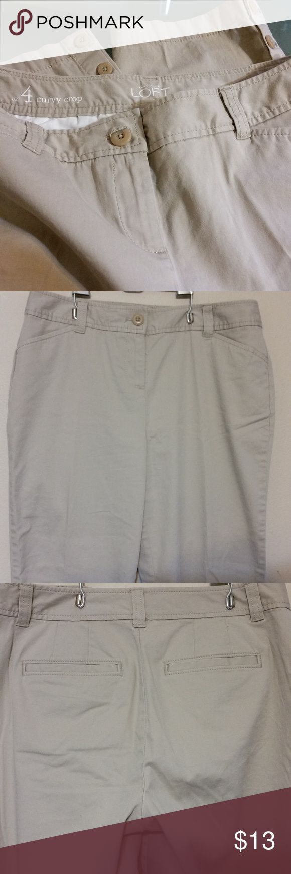 """Ann Taylor Loft Women's Capri pants """"Curvy Crop"""" 97% Cotton 2% Spandex.  Very good condition from Ann Taylor Loft.  4 pockets with Stretch. Cute button detail on the bottom of the pant legs which are functioning buttons.  If you have any questions, please contact me.   Approximate Measurements: Waist: 29"""" Inseam: 24"""" Rise: 10"""" Length:  Top of side waist seam to hem:  33"""" Ann Taylor Loft Pants Capris"""