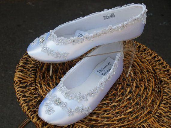 Wedding Flats White Shoes Silver Venice lace edging by NewBrideCo, $98.00