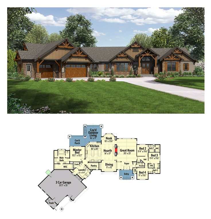 Like the garage layout and west facing ability. One storey mountain ranch house. 3270 sq ft. Dimensions: 124' x 88'. 4 bedrooms, 3 full and one half bathroom. 3 car attached garage of 1160 sq ft.