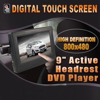 """9"""" In car LCD TOUCH SCREEN HD Monitor Active Headrest Portable DVD Player Game Built-in Battery"""