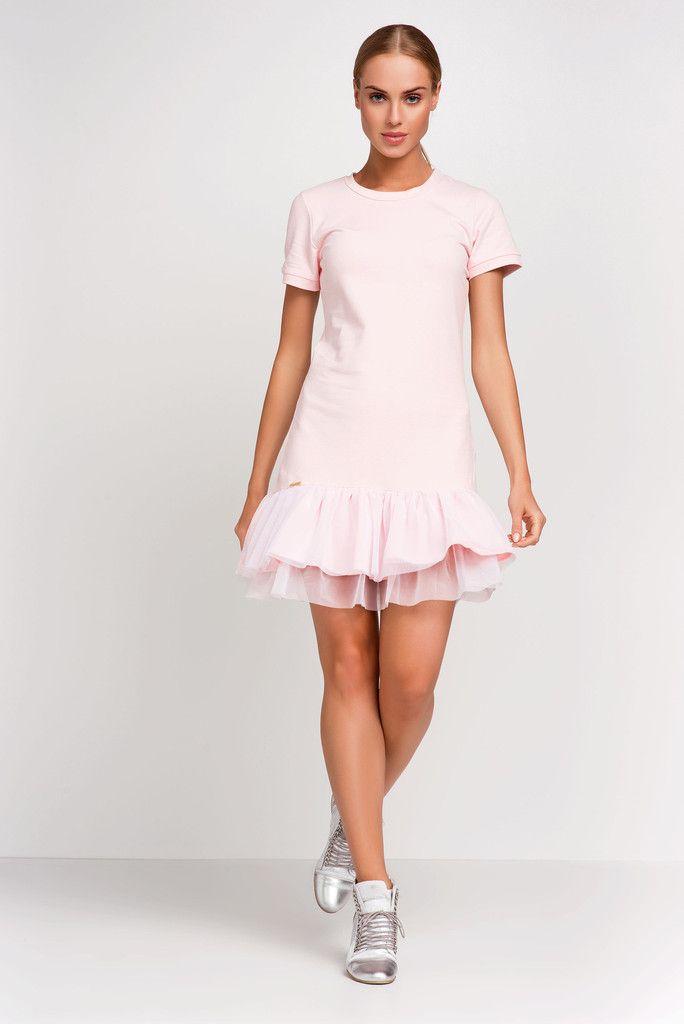 Summer Sport Light Pink Dress Wiht Mash Frill