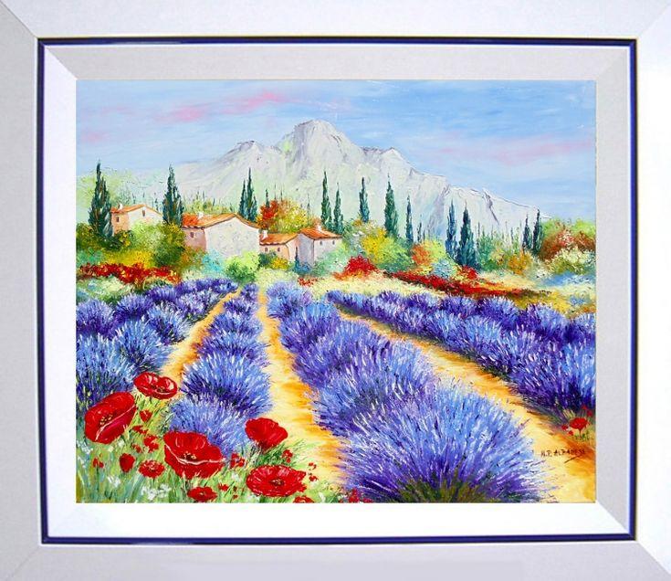 tableau peinture tableaux de provence lavandes coquelicot paysage de provence peintres de. Black Bedroom Furniture Sets. Home Design Ideas