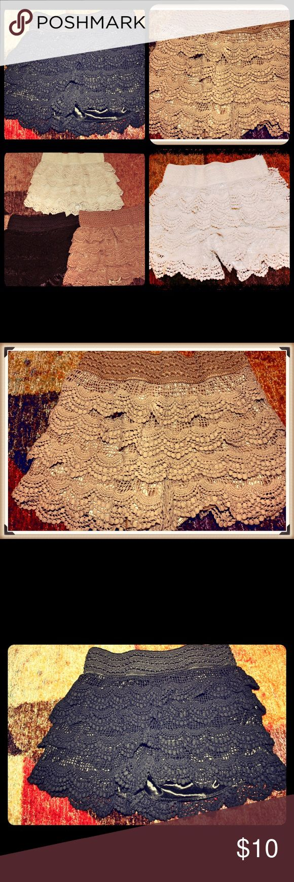 3 crochet shorts Super cute and stylish crochet shorts! Includes all 3.. tan, black &a white! 65% cotton/35% polyester Shorts