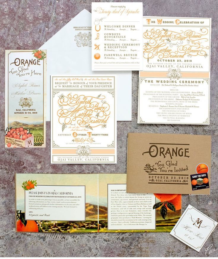 Orange You Glad? Our Muse - Elegant Orchard Wedding in Ojai - Be inspired by Elizabeth and Matthew's elegant orchard wedding in Ojai, California - wedding, invitations, letterpress printing, digital printing