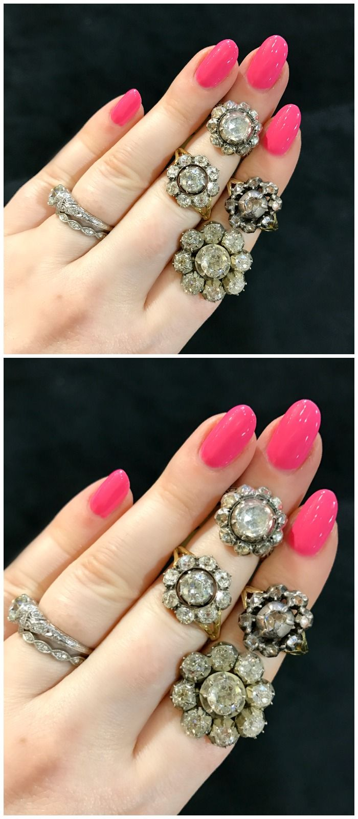 A Cluster Of Antique Cluster Rings From Dk Bressler Spotted At The  Original Miami Antique