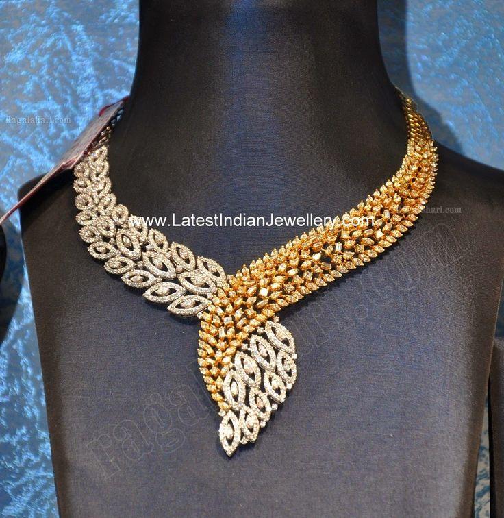 Two tone designer diamond necklace