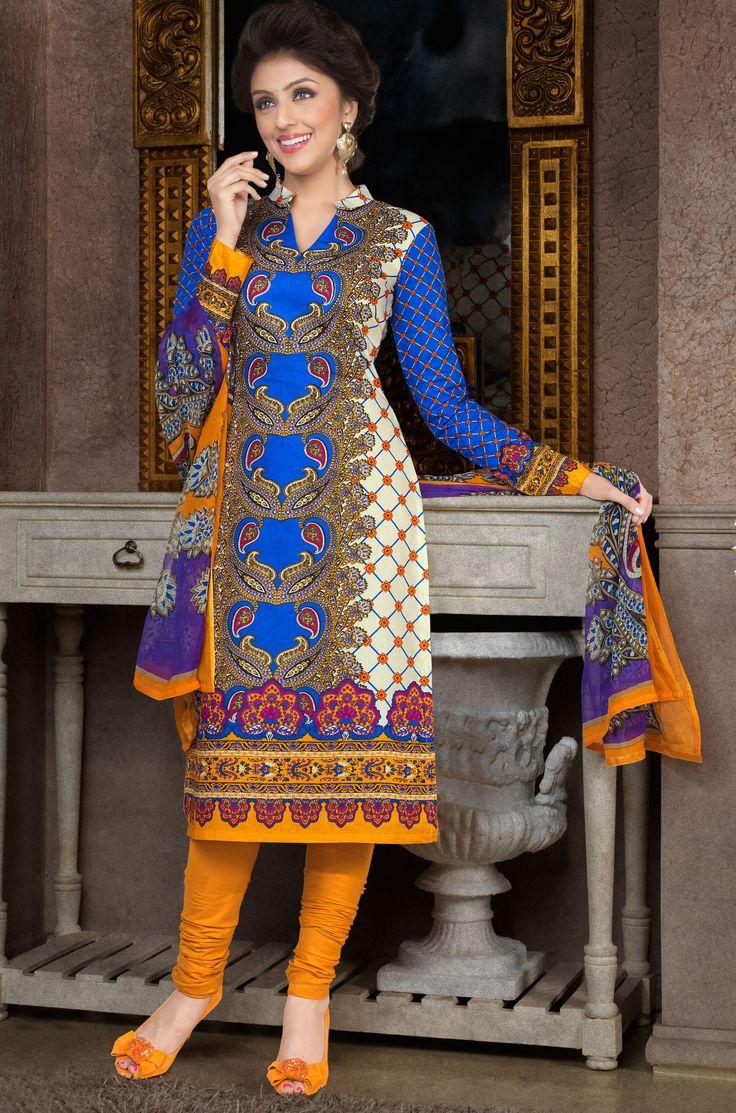 Aarti Chhabria Blue & Mustard Designer Dress Material