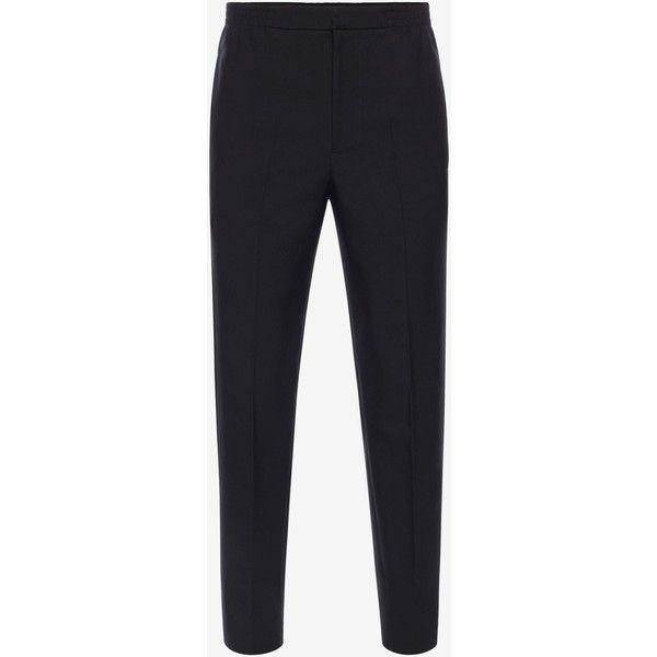 Alexander McQueen Tuxedo Trousers ($885) ❤ liked on Polyvore featuring men's fashion, men's clothing, men's pants, black, mens zipper pants, mens tuxedo pants, mens zip off pants, mens elastic waist pants and mens elastic waistband pants