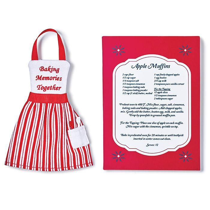 "youravon.com/tdenton Present, perfect;Comes with a recipe on the back of the gift box.Tree ornament in the shape of an apron; Comes with a recipe on the back of the gift box for apple muffins;Red neck strap that acts as string to hang on tree;Red gift box with ecetate window and recipe on back;3"" x 4"" MATERIALS;Cotton, viscose CARE;Wipe clean with a dry clothMade in ChinaOrnament is for decorative use only. Keep out of reach of c..."
