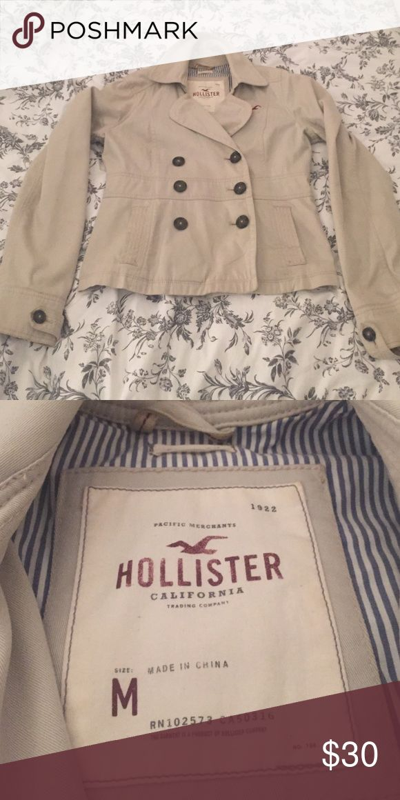 Khaki three button Hollister jacket Khaki jacket from Hollister, perfect for fall and spring. No stains or rips! Hollister Jackets & Coats
