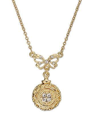 Downton Abbey Necklace, Gold-Tone Bow and Round Pendant Necklace - All Fashion Jewelry - Jewelry & Watches - Macy's