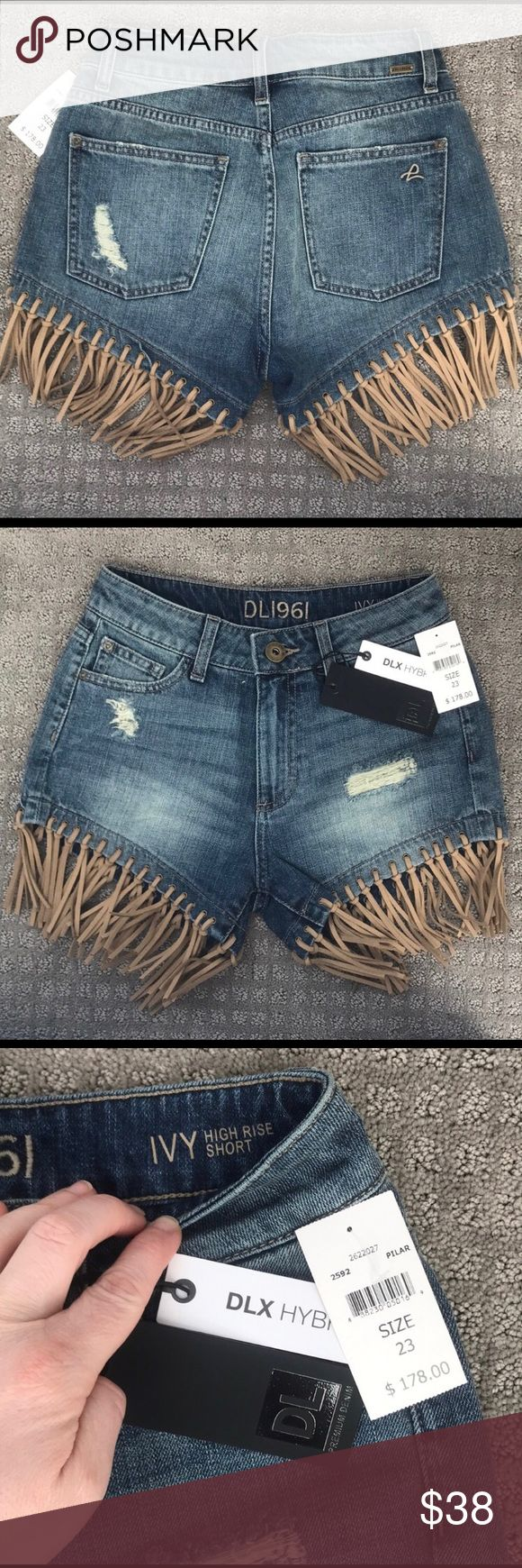 """DL1961 Distressed Denim Jean Shorts with Fringe Coachella Ready! Contrast fringe sways from the hem of this Casual- Chic short constructed from light blue denim. Thread bare patches add a hint of stylish dressing.   3"""" inseam 23"""" leg opening 9 1/2in rise  Zip fly with button closure 5- pocket style  100% American Cotton Natural Indigo Dye DL1961 Shorts Jean Shorts"""
