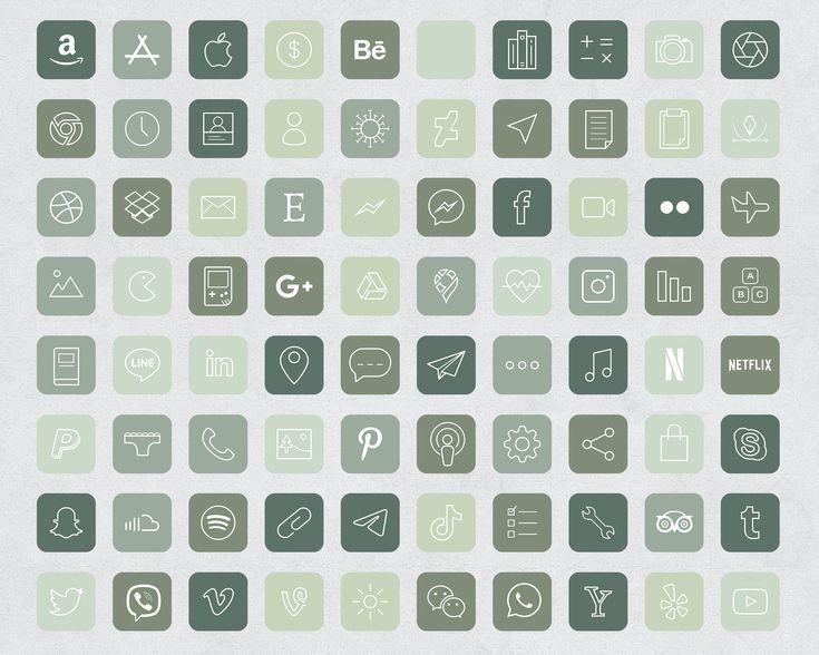 640 forest green aesthetic ios 14 app icons social media