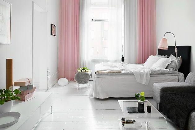 Малогабаритки до 45 метров, Мебель и предметы интерьера, Спальня,  скандинавский стиль,  Черный, Серый, Белый, Розовый, Бежевый,