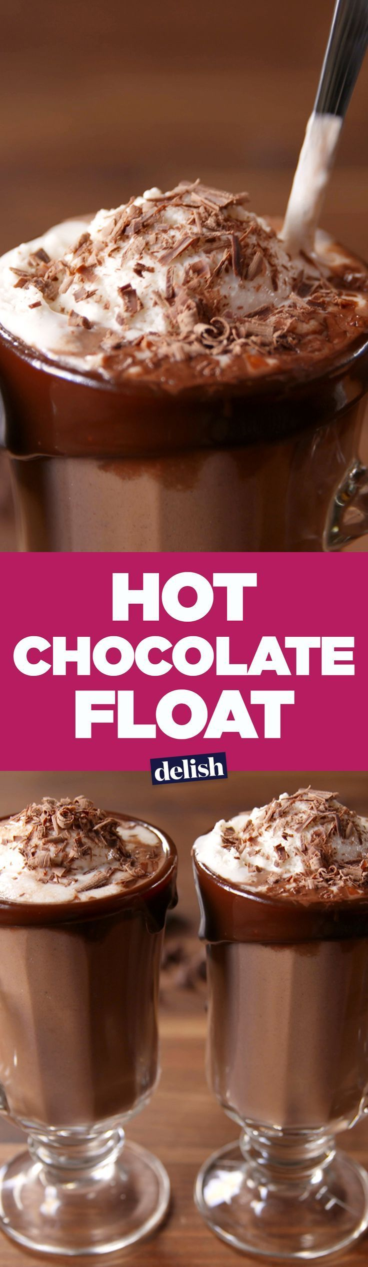 The secret to this Hot Chocolate Float is the insanely easy hot chocolate recipe. Get the recipe on http://Delish.com.