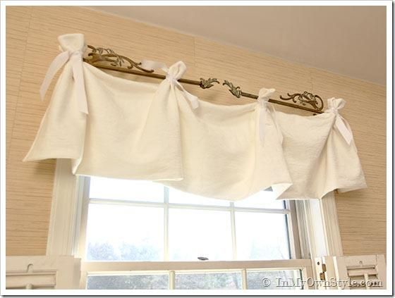 How to make a no sew tie-on window valance for a more elegant home.