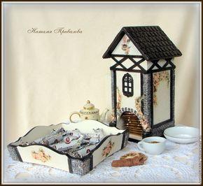 Чайный домик и конфетница в стиле фахверк - бежевый,чайный домик,конфетница