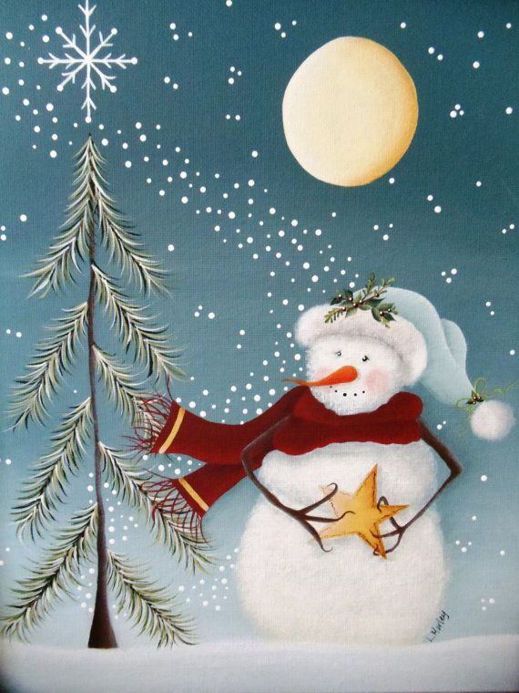 Tangled Snowmen Tole Painting Pattern by ThePaintingHouse on Etsy