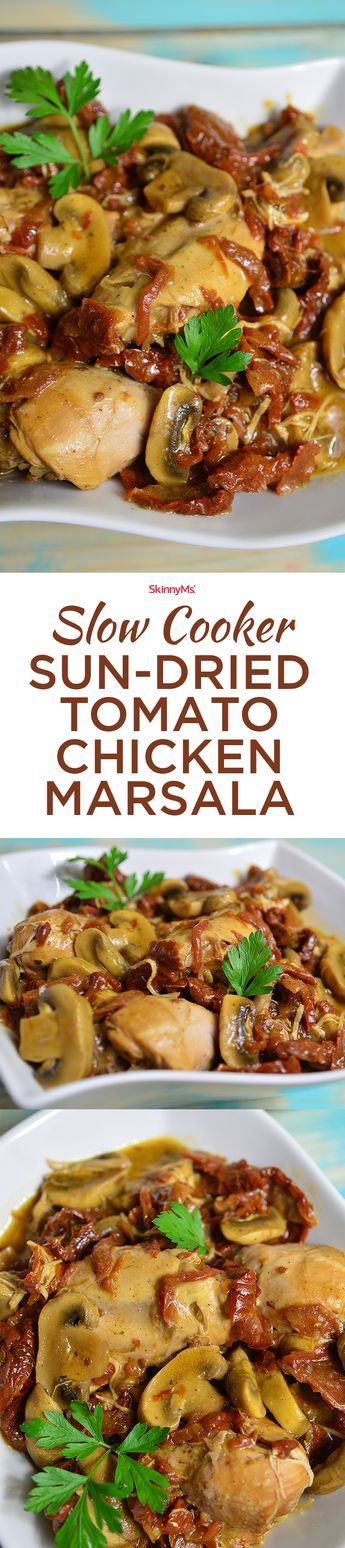 You guys, this is seriously the yummiest Chicken Marsala recipe. This Slow Cooker Sun-Dried Tomato Chicken Marsala dish is yummy enough, even kids enjoy it! | Sun-Dried Tomato Chicken Marsala