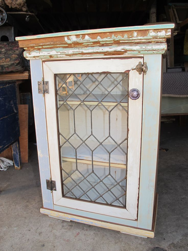 Small cabinet leaded glass door vintage mirrors for Kitchen door with window