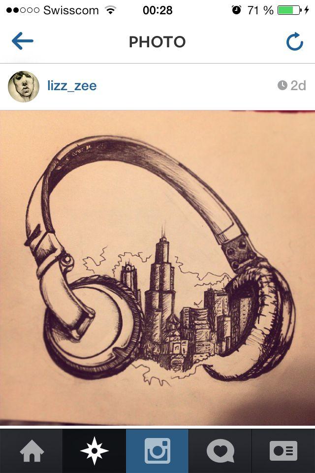 #headphones #city #tattoo