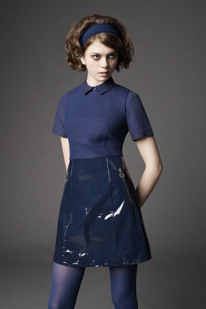 You need to make a leather/vinyl skirt. Navy would match with your dot shirt. Fred Perry Laurel Collection