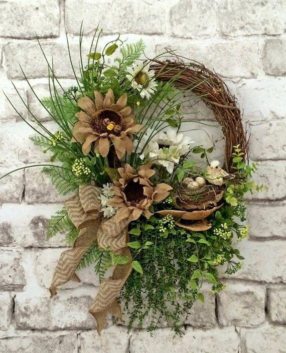 Burlap Summer Wreath for Door, Front Door Wreath, Sunflower Wreath, Outdoor Wreath, Burlap Wreath, Floral Wreath,Grapevine…