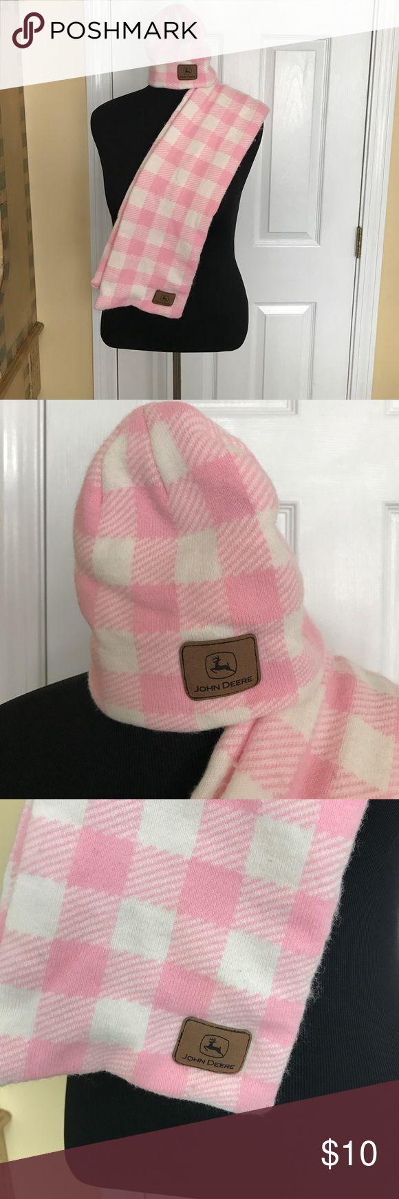 ❄️Winter Sale❄️ John Deere scarf & hat John Deere winter pink & white checkered scarf & matching hat set. John Deere Accessories Scarves & Wraps